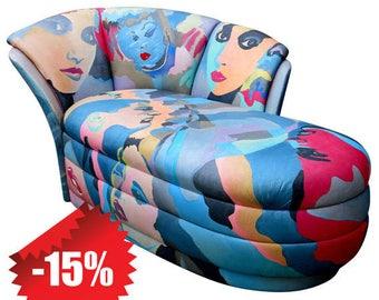 Pop Art Hand-Painted Chaise Lounge by Robert Fischer