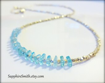 WAVE Aqua Blue Apatite & Hill Tribe Fine Silver Necklace, turquoise, casual beach jewelry