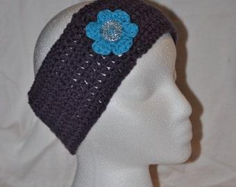 Women's Purple Ear Warmer with Blue Flower