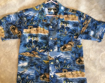 Vintage Rayon Hawaiian Shirt Loop Collar