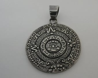 Vintage Sterling Silver Mexican Calendar Medallion Pendant
