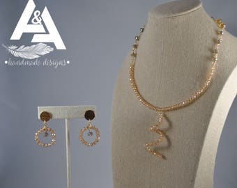 Gold filled beige and rose gold jewlery set - Necklace & earrings