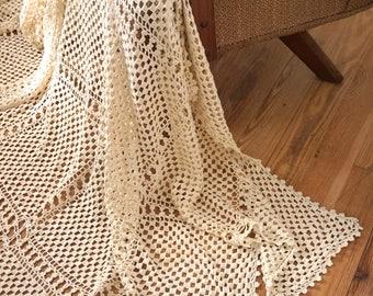 Vintage Natural Cotton String Crochet Bedspread