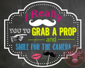INSTANT DOWNLOAD - Photo Booth Sign - NEON Chalkboard Sign - Weddings, 80's Birthday