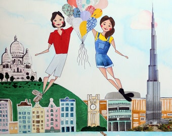 Friendship Custom Travel Illustration - Large Mixed-Media Original Custom Portrait