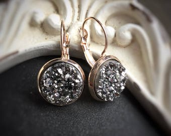 Rose Gold Druzy Earrings, Gunmetal grey sparkle, sold per pair (leave qty as 1)