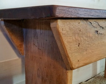 Bench, Wood Bench, Wooden Bench, Walnut Top Bench, Reclaimed Bench, Entryway Bench, Farmhouse Bench, Mudroom Bench, Recycled Oak Bench