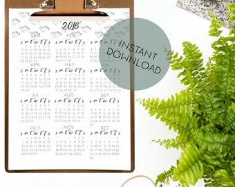 One Page Calendar,Modern Calendar,Printable,2018 Calendar,Mini Calendar