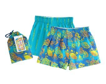 Boys Pajamas, Summer Christmas Pajamas, Seahorse Pajama Set, Boys Gift, Baliboo Boxers, Blue Batik