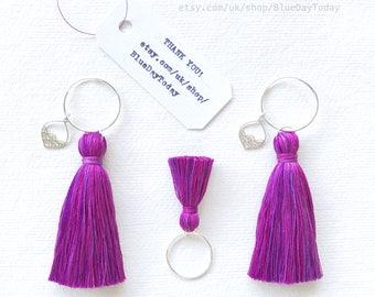 Purple Rain | Cotton Tassels | Sterling Silver Ring & Earrings