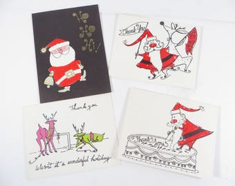 Mid Century Set of 4 Christmas Thank You Cards