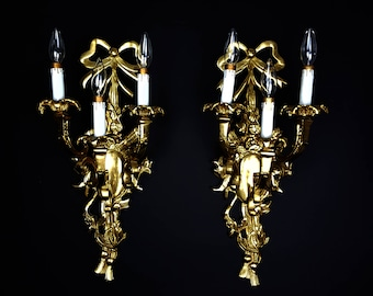 "Free Shipping USA & Canada - Vintage French Pair XL 23"" Wall Sconces 3 Arms Brass Ornate Wall Light Luxury Elegant Baroque Rococo Victorian"