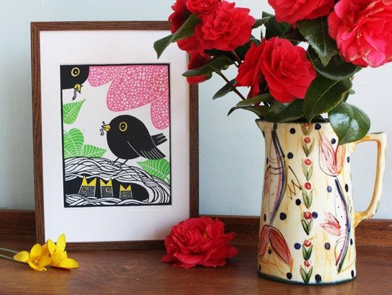 Blackbird Family, 3 blocks, Original Linocut Print, Signed Open Edition, Free Postage in UK, Block print,  Printmaking,