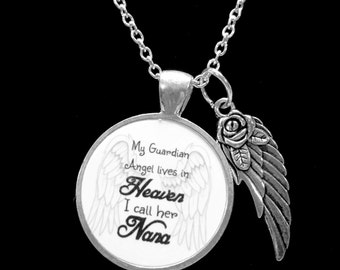 Nana My Guardian Angel Lives In Heaven In Memory Angel Wing Remembrance Memorial Not Forgotten Necklace