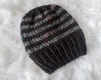 Black and Gray Stripe Slouchy Beanie