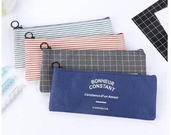 Grid & Stripes Canvas Pencil Bag Stationery Storage Organizer School Supply