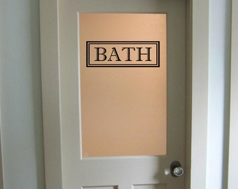 Bath Vinyl Decal Bathroom Glass Door Decal Wall Words Vinyl Lettering Bathroom Decor Traditional Bath
