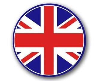 ROUND Union Jack Flag Sticker (UK British)