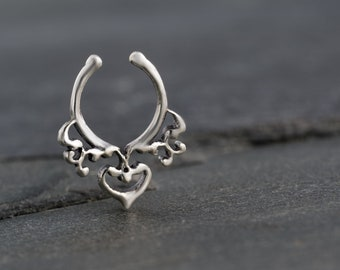 Fake Silver Septum Ring. Sterling Silver Indian Septum Ring For Non Pierced Nose. Septum Piercing. Fake Septum. Septum Jewelry.
