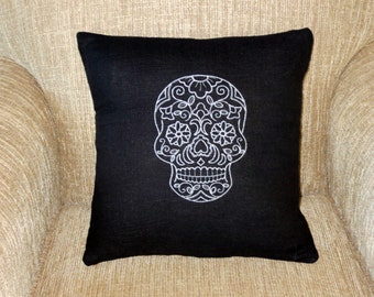 Sugar skull, Day of the Dead, Mardi Gras, embroidered pillow