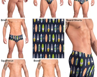 Surfboards Swimsuits for Men by Vuthy Sim.  Thong, Bikini, Brief, Squarecut, Boxer, or Board Shorts - 154