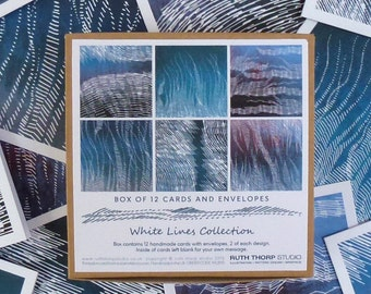 Box of 12 Cards - White Lines / greeting cards / notelets / abstract / lines / blue / green / purple / nature / landscape / art / handrawn