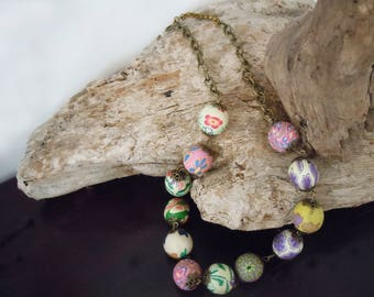 Bohemian necklace - Necklace with colorful polymer clay beads with flowers
