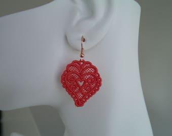 Heart, Dark Peack, Lace Charm Earrings
