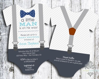 Little Man Baby Shower Invitation | Bow Tie and Suspenders Baby Shower Invite | Printed Die Cut Invitation | Shaped Invite