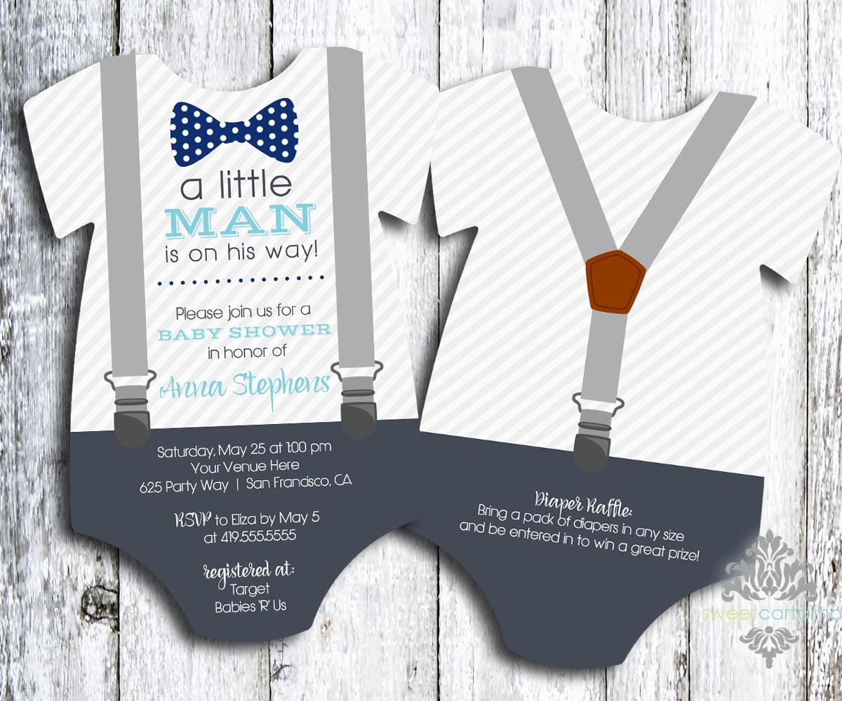 little man baby shower invitation bow tie and suspenders