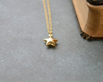 Gold Star Necklace, Gold Vermeil Necklace, Tiny Star Necklace, Dainty Gold Necklace, Star Jewellery, Tiny Gold Pendant, Daughter Gift