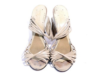 Size 8M // Vintage Kimel California Mules// High Heel White off Mules // Strappy Heeled Sandals// 204