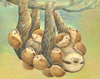"Art Print - ""Sloth Covered With Hedgehogs"" - 8x10 hedgehog illustration, sloth illustration"