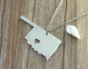 I heart Oklahoma Necklace - Oklahoma Pendant - State Necklace - State Charm - Map necklace - Map Jewelry
