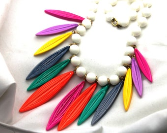 Pop Art Multicolored 60's Rainbow  colors Dangling Leaves Bead Plastic Acrylic Resin Necklace