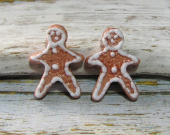 Gingerbread man 2 ceramic cabochons for creation, decoration, Christmas