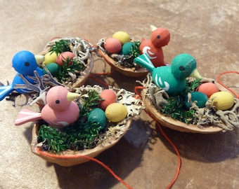1 Vintage Miniature Bird Nest Walnut Shell Eggs Christmas Ornaments Easter Wood Hand Painted Feather Tree Decor Craft Supply Lot (#515)