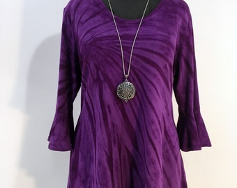 Large purple bamboo top with flounced 3/4 sleeves and scoop neck.