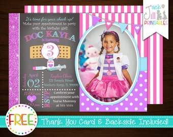 Doctor Invitation, Nurse Birthday, Doctor, Striped, Dotted, Pink, Purple, Cute, Party Photo Invite +FREE Thank You Card!