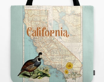 California Map Tote Bag, Beach tote, everything bag, colorful allover print, gift for mom, beach bag, travel bag