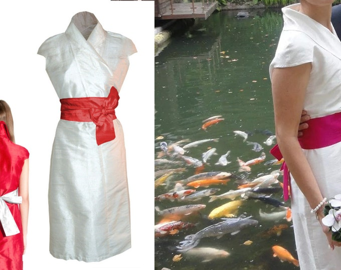 silk wrap dress / weddingdress in kimono style from natural raw silk white offwhite creme dupioni