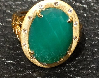 Green Onyx Ring 14K Gold Overlay Sterling Silver