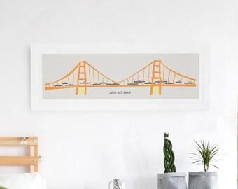 Golden Gate Bridge Panoramic Print, San Francisco Art, Vintage Cars, Orange And Yellow, Road Trip Poster, West Coast Art, Mid Century Print