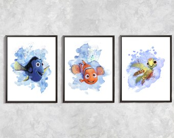 Finding Nemo Set Print, Nemo Print, Nemo Poster, Nemo Art, Nemo, Dory, Squirt print, Nemo Digital download art, Finding Nemo birthday party