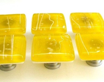 Yellow Glass Knobs, Custom Cabinet Hardware, Kitchen Knobs