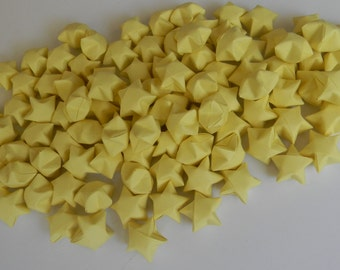 100 pieces Origami lucky star, Origami wishing star, Pastel Yellow
