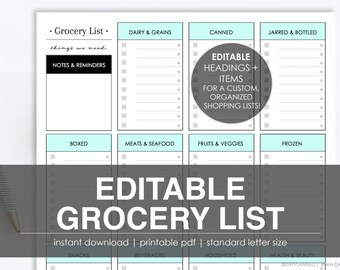 EDITABLE GROCERY LIST | Printable, Instant Download by DayPlanned.com