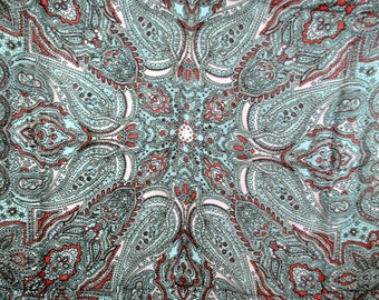 Collection Acrylic Vintage Paisley Scarf - Made in Japan - Fringed in Muted Tones