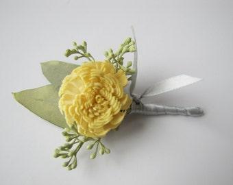 Yellow Boutonniere - Yellow Wedding Boutonniere - Yellow Wedding - Men's Boutonniere - Prom Boutonniere - Keepsake Boutonniere - Ring Bearer
