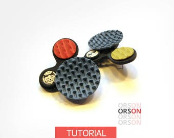 ORSON handmade textures Red Blues Earrings feat. cats in Polymer clay Original Tutorial E-book in English ONLY